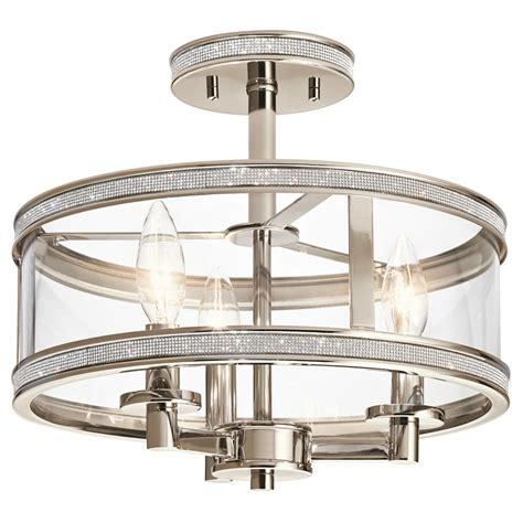 flush mount lights shop kichler 13 in w polished nickel clear glass