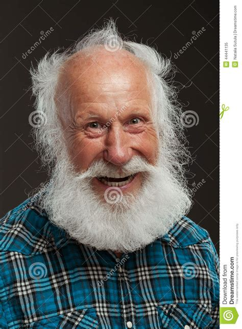 man   long beard wiith big smile stock photo