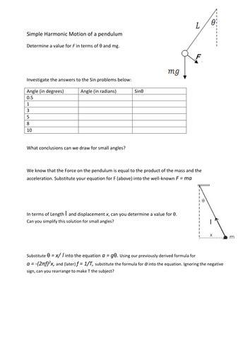 shm simple harmonic motion of a pendulum worksheet by