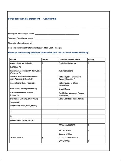 sample financial statement template   documents