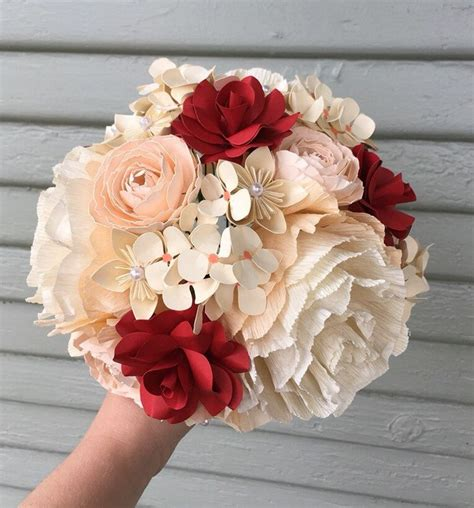 crepe paper flower bouquet bridal wedding