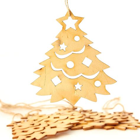 unfinished wood laser cut christmas tree ornaments