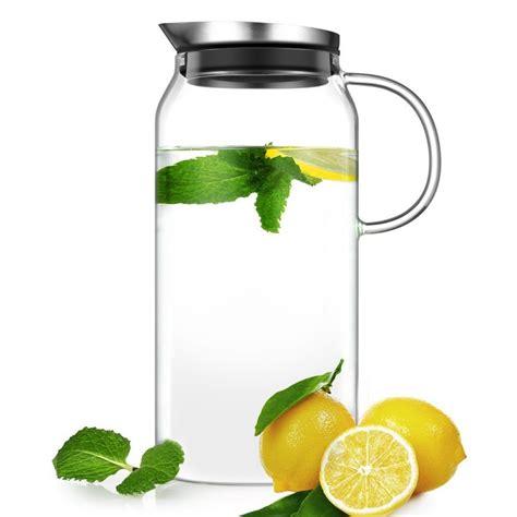 glass water pitcher with filter ecooe 1300ml glas wasserkrug mit deckel