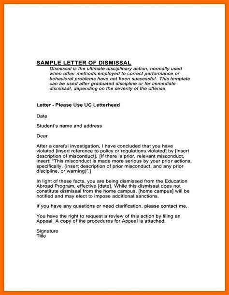 appeal letter  dismissal  work sampletemplatess