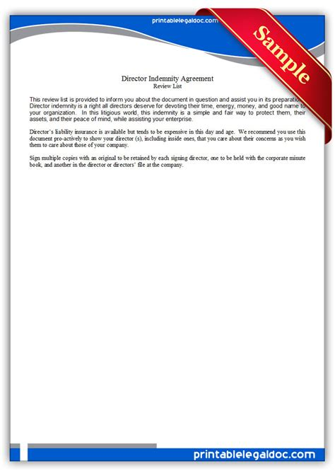 printable director indemnity agreement form generic