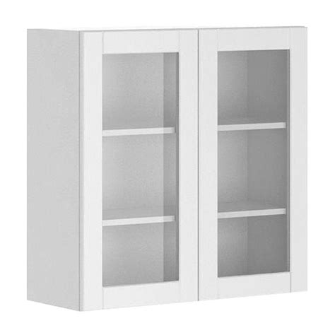 glass door wall cabinet fabritec 30x30x12 5 in amsterdam wall cabinet in white