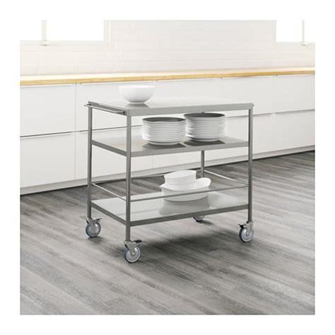 kitchen trolleys and islands flytta kitchen trolley stainless steel 98x57 cm ikea 6334