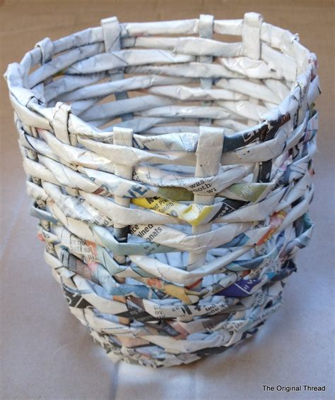 diy recycled newspaper mini basket theoriginalthread