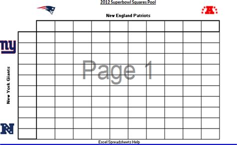 excel spreadsheets  printable  superbowl squares