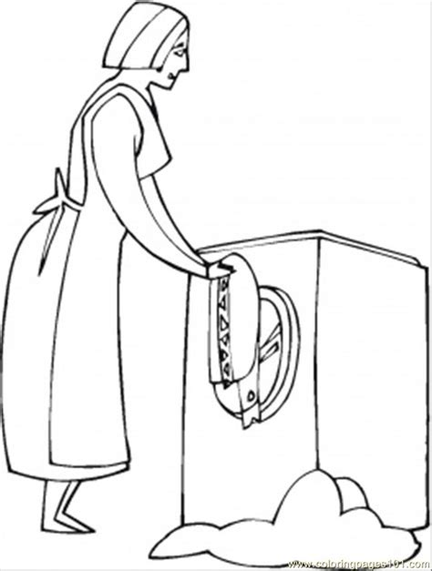 Washing The Clothes Coloring Page  Free Home Appliances