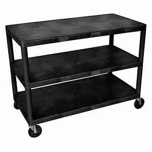 Luxor Heavy Duty Three Shelf Industrial Cart (Black or ...