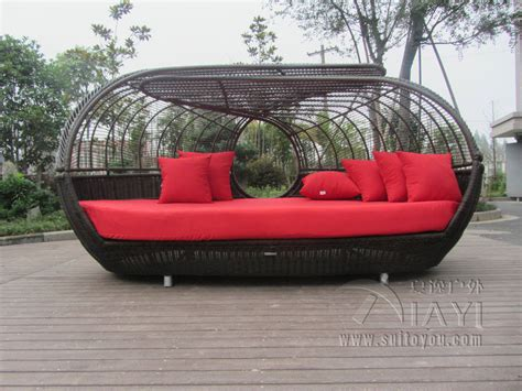 luxury outdoor rattan daybed with canopy outdoor furniture
