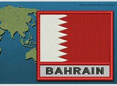 Design embroidery Flag of Bahrain with Text Caption and