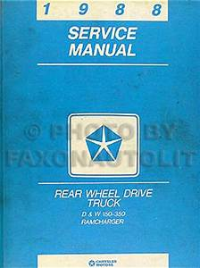 1988 Dodge Pickup Truck  U0026 Ramcharger Repair Shop Manual