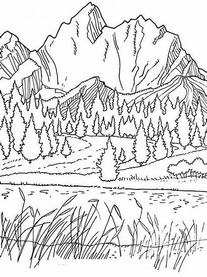Coloring Pages Spring Mountains Mountain Adult Printable