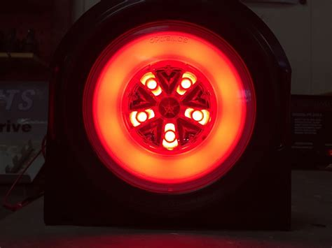 4 round led lights 4 red 18 led 4 round truck trailer brake stop turn tail