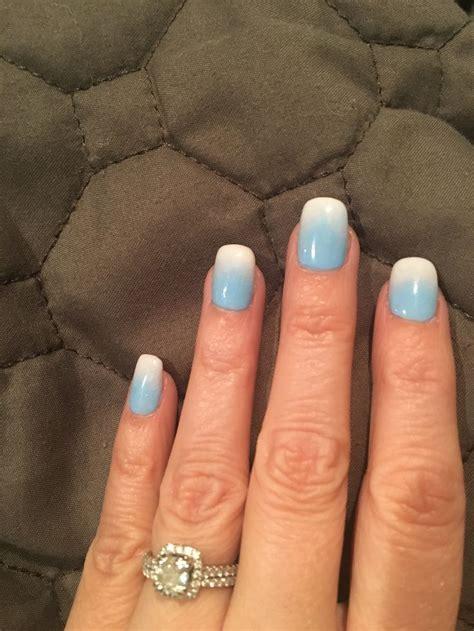 Sky blue ombre powder dip nails | Nail dipping powder ...