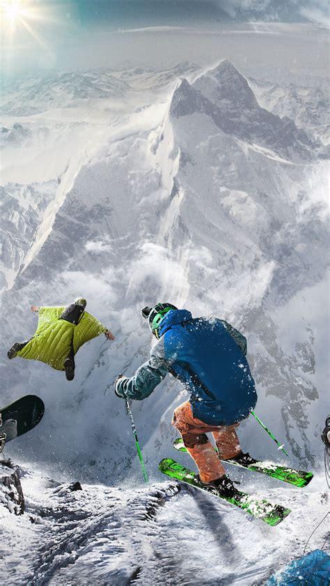 wallpaper skiing wingsuit flying snowboarding