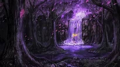 Purple Anime Forest Fairy Waterfall Scenic Stream