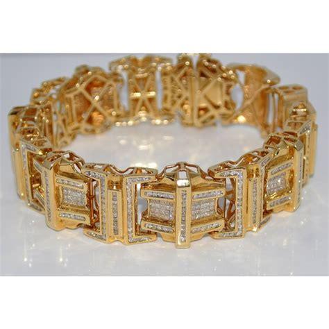 gold bracelets mens mens bracelet 9ct diamonds princess cuts and