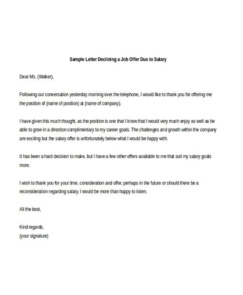 job refusal letter due  salary samples templates