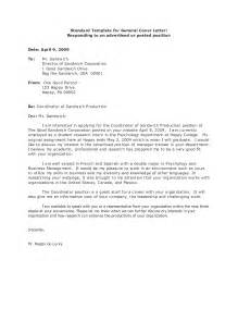 What Is A General Cover Letter For A Resume by General Cover Letter Exles For Employment