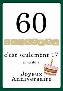 Faire Part Anniversaire 60 Ans : carte anniversaire scrabble 60 ans 123cartes ~ Melissatoandfro.com Idées de Décoration