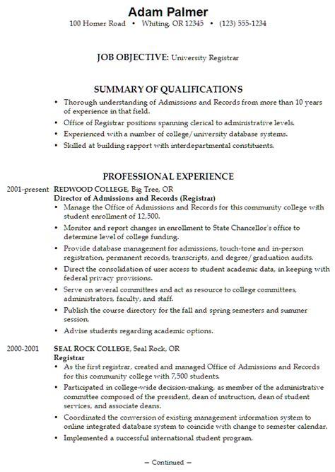 nursing cv template ireland resume exle for a university registrar susan ireland resumes