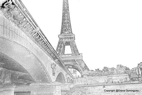 Drawn Eiffel Tower Paris Bridge Pencil And In Color