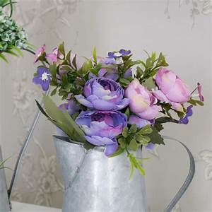 Pink and Purple Rose Bouquet in Grey Metal Jug - Melody ...