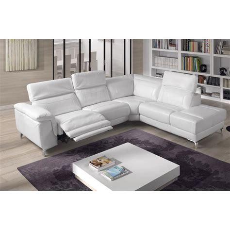 canapé d 39 angle relax électrique cuir blanc tudor angle