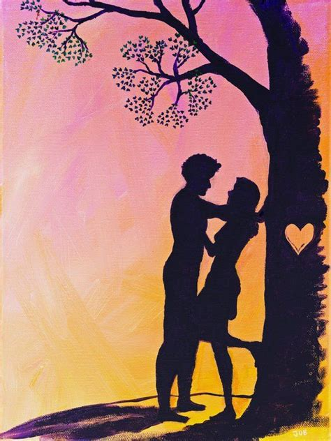Cute Romantic Love Couple Silhouette Valentine Heart Pink
