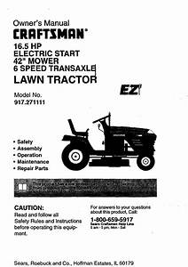 Craftsman 917271111 User Manual Lawn Tractor Manuals And