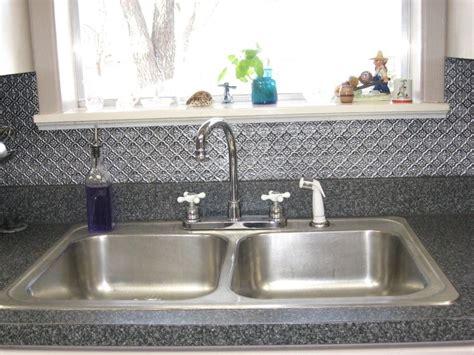kitchen sinks with backsplash minimalist kitchen ideas with silver tin tile backsplash