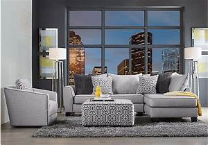 ashford landing gray 3 pc sectional living room living With gray sectional sofa rooms to go