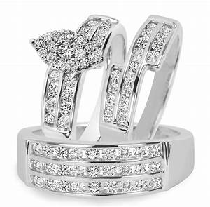 1 3 4 ct tw diamond trio matching wedding ring set 10k With matching wedding rings white gold