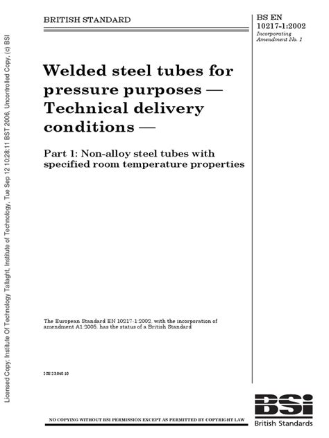 EN 10217 - 1 | Nondestructive Testing | Welding