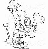 Archaeologist Cartoon Archaeology Coloring Drawing Pages Bone Male Vector Archeology Leishman Ron Clipart Sketch Inspecting Outlined Indiana Jones Getcolorings Illustrations sketch template
