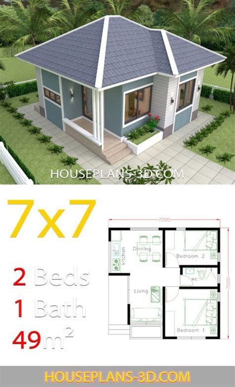 House Design 7x7 with 2 Bedrooms full plans House Plans