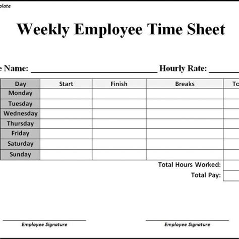 Time In Sheet Template Online Free by Free Printable Weekly Timesheet Template And Form Sle
