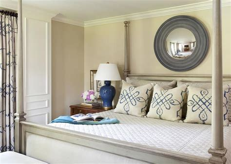 gray convex mirror  gray distressed  poster bed