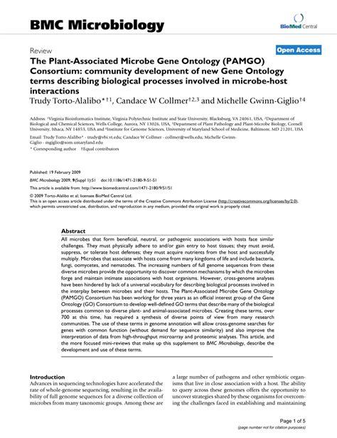 (pdf) The Plantassociated Microbe Gene Ontology (pamgo) Consortium Community Development Of
