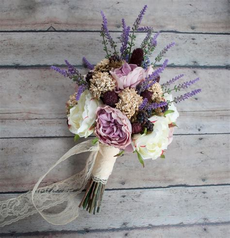 Bohemian Wedding Bouquet Rose And Lavender Wedding Bouquet