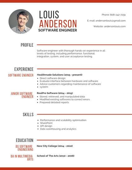 Professional Resume Generator by Customize 72 Professional Resume Templates Canva