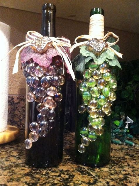 wine bottle diy crafts super cuteeee could totally diy with some wine bottles glass stones hot glue whatever other