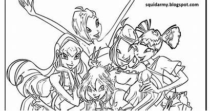 Winx Club Coloring Pages Them Army Squid