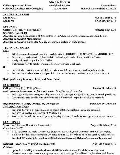 Resume Actuary Student Economics Internship Internships Reddit
