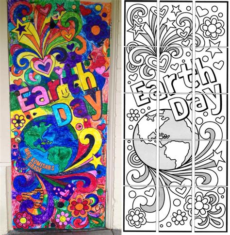 earth day doodle mural art projects  kids