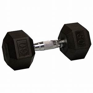 30 Lb Rubber Coated Hex Dumbbell