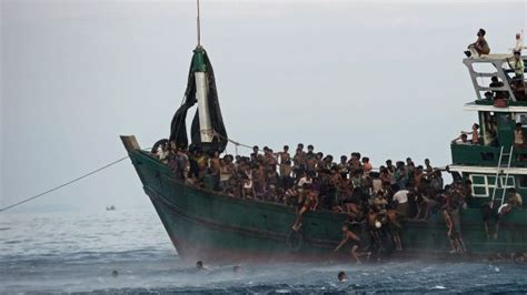 Overcrowded Refugee Boat by Rohingya Muslims Cry For Help As Horror Refugee Limbo